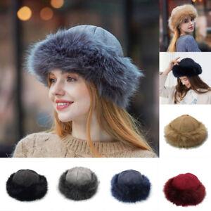 Women's Velor Faux Fur Hat Fleece Russian Cossack Ski Winter Warm Gray