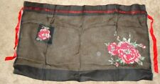 Vintage 50's/60's 1/2 Apron Black Sheer w/Roses & Pocket
