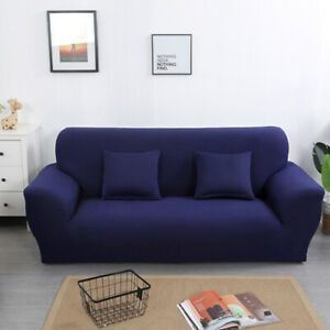 1/2/3/4 Seater Solid Color Sofa Cover Elastic Stretch Couch Slipcover Protector