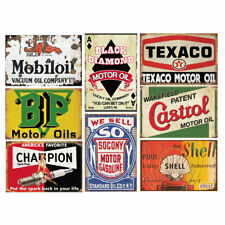 8 Pcs Retro Vintage Tin Signs Gas Oil Sign Home Wall Decor Garage Men Cave Bar