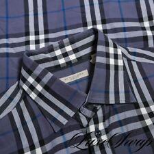 ICONIC Burberry Brit Grey Blue Multi Allover Tartan Nova Plaid Dress Shirt XL NR