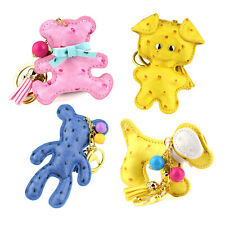Fashion Lovely Animal Keychain Pu Leather Key Chain Ring Keyring Keyfob Rings