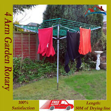 New 50m 4 Arm Garden Rotary Clothes Airer Dryer Washing Line & Ground Spike