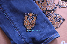 1 Owl Embroidery Sequins Clothing Iron-On Patch Applique, Gold Silver Black