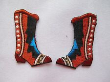 #2305 Lot 2Pcs Left & Right Cowboy Boots Embroidery Iron On Applique Patch