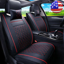 US Car SUV Truck Seat Cover Cushion PU Leather For Front Bucket Seats & Headrest