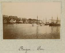 Norvège, Bergen, vue sur le port prise du bateau  vintage albumen print,Photos