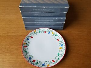 "LOT of 6 AVON Vintage Christmas Lights Dessert 7"" Plate"