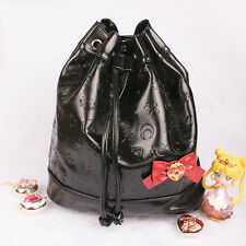 Sailor Moon Guardian Star Symbol Black PU Bow Tie Bucket Bag Backpack Cosplay