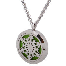 Silver Snowflake Aromatherapy Essential Oil Diffuser Pendant Locket Necklace