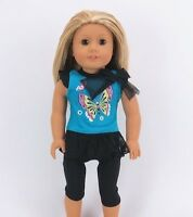 """Doll Clothes 18"""" Leggings Top Butterfly Fits American Girl Dolls"""