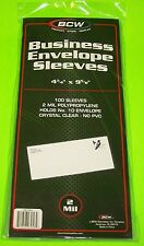 "100 #10 BUSINESS ENVELOPE SLEEVES BY BCW - CLEAR - ARCHIVAL SAFE 4-1/4"" X 9-5/8"""