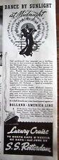 1937 Holland American S.S. Rotterdam Cruise Ship Ad