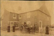 LUTTON POST OFFICE W/ DOG   HORSE DRAWN CART 1895 + MAN   WOMAN PHOTO SET OF 2