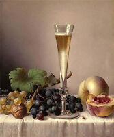Nice Oil painting WilLAms Joseph Peter Nice still life fruits grape & wine cup