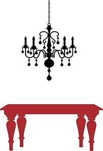 Chandalier and table vinyl wall decal
