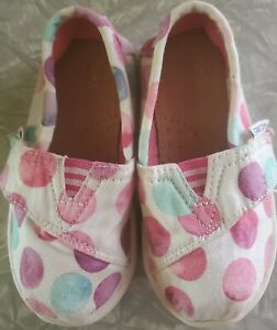 Toms Toddler Sz 6 Medium white with dots Flats Fabric Girls 10010053