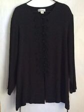Michael Blake Womans Blouse/Top Black Size 22-24W Embroidery Front Detail