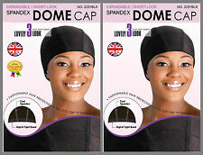 2 x Packs Womens Spandex Dome Cap Flexible Breathable Black One Size Perfect Fit