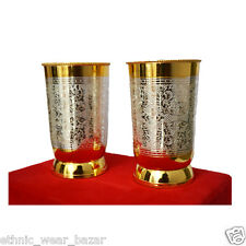 Set Of 2 Antique Silver And Gold Plated Brass Juice Glass With Tray For Kitchen