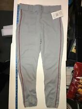 All-Star Adult Large Piped Baseball Pant BSP5A Gray with Red Pipe