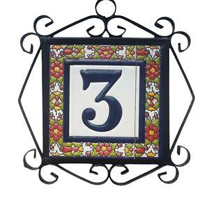 Ceramic Hand Painted Spanish Floral Door Number, Letter Tiles & Filigree Frames