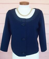 B. ALTMAN Knit Jacket Fits 6 8 Vintage LUSH BEADING Gorgeous Navy Blue 50's 60's
