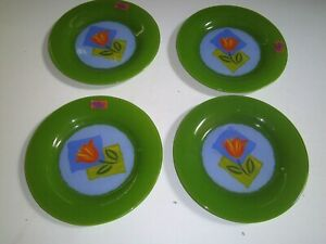 "Vtg Arcoroc MATYS 7.5"" GREEN w/Orange Tulip Salad Plates~France~NEW w/Stickers"