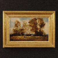 Dipinto quadro francese olio su tavoletta paesaggio stile antico impressionista