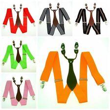 NEW Unisex Elastic Suspenders Leather Braces Adjustable Clip-on 3.5cm Width BD6