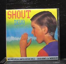 """Devo - Shout Mint- 2x 7"""" Vinyl 45 UK 1985 Warner Bros Gatefold SAM 235"""