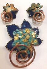 ❤️Matisse Renoir Vintage Clip Earrings & Brooch Set Copper & Blue Enamel Leaf❤️