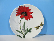 Pier 1 Imports Luncheon Plates Boxed set of 4 Flowers Butterfly Bugs