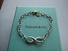 """Professionally Polished Tiffany&Co. Infinity Link Bracelet-7.25""""-w/Box-Ret. $235"""