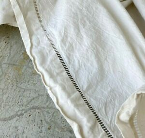French vintage sheet linen cotton blend ladderwork white fabric Textile Trunk
