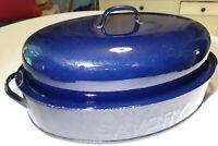 """COBALT BLUE SAVORY ROASTER Roasting PAN 15"""" x9"""" Antique VINTAGE Heavy Enamelware"""