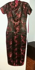 Plum Blossom Vestido De Seda Roja China pequeño 8 ver Meas utilizado Sofisticado Vestido Halloween