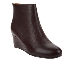 Gentle Souls by Kenneth Cole Leather Wedge Ankle Boots Vicki Merlot Women's 6.5
