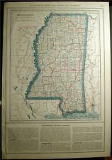 New Listing1921 Mississippi State & County Auto Road Highway Map Law History Ms