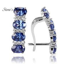 925 Sterling Silver Tanzanite Earrings For Women Blue Stone  Jewelry For Wedding