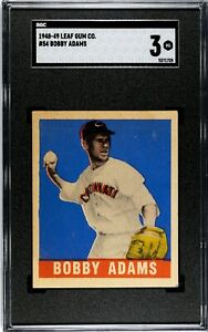 BOBBY ADAMS 1948 - 49 LEAF GUM CO. SP BASEBALL CARD #54 SHORT PRINT SGC 3