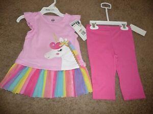 NEW NWT Kids Headquarters girls size 2T unicorn rainbow tutu top and capri set
