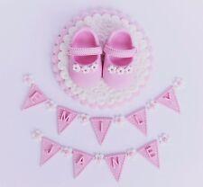 Edible baby girls Baby Shower cake  topper. Girls Christening cake decoration