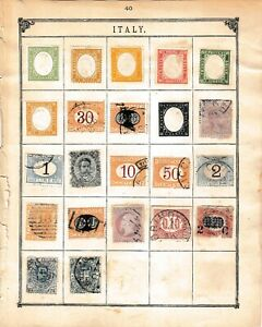 ITALY STAMPS.   TWO ALBUM PAGES OF OLD STAMPS.  WORTH A LOOK.