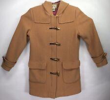 LL Bean Wool Toggle Full Zip Hooded Duffle Coat Camel Beige Women's MEDIUM REG