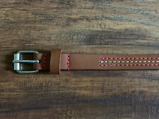 Target Girls Brown Belt - White & Pink Stripes - Size Medium