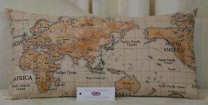 "Handmade Fryetts Maps Multi Cushion Rectangle Inc Pad 11"" x 22"" (28cm x 56cm)"