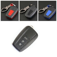 Carbon Fiber Design Shell+Silicone Cover Holder Fob Case For Toyota Remote Key D