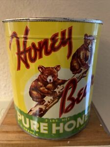 VINTAGE Honey Bear Pure Honey Tin Can  CALIFORNIA