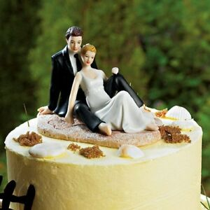 Romantic Couple Lounging On Beach Wedding Cake Topper WITH Custom Hair Colors